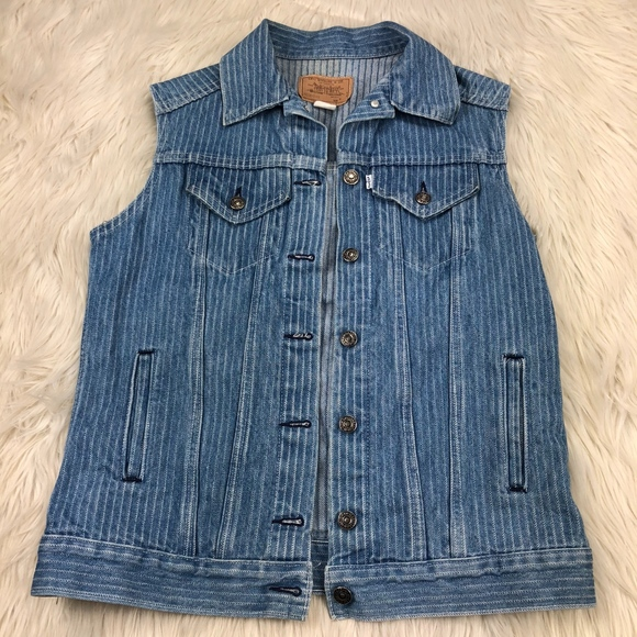 Levi's Poshmark Striped Denim Levis Jacketsamp; CoatsVintage Vest WHED29I